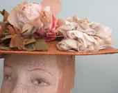 Victorian Rose Covered Straw Hat