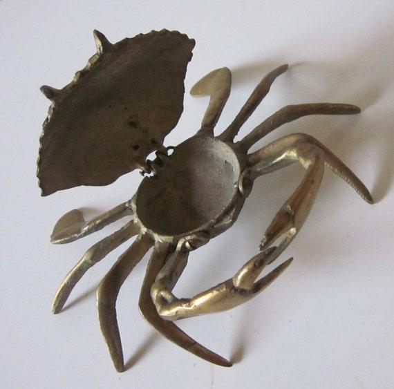 Vintage Brass Crab Keepsake Box