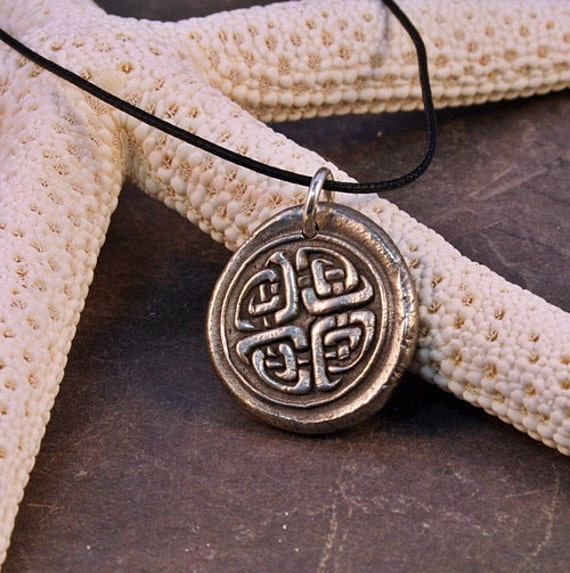 White Bronze Metal Clay Celtic Knot Work Wax Seal Stamped Medallion