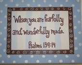 Fearfully & Wonderfully Made, Baby Blue Polka Dots, Child's Nursery,11x14 Bible Verse Wall Art, Psalm 139:14, Baby Dedication, Christening