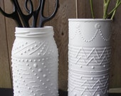 2 Upcycled Containers - White Faux Porcelain Pottery