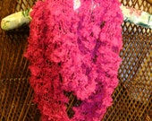 Infinity scarf, knitted in a round loom will convert easily into a cowl. Hot pink Dewdrops yarn