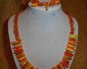 Orange & yellow shell necklace bracelet set