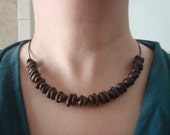 Simple, natural coffee bean necklace, aromatic. Fair Trade, Organic Beans.
