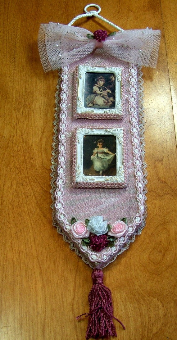 Victorian Repurposed Wall Hanging - Vintage pictures,  Pink Brocade, Gimp -