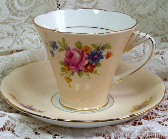 Bone China Cup and Saucer - Salmon color with florals - Grafton, Made in England