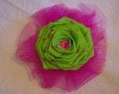 lime green and magenta flower hair clip