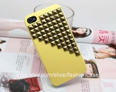 Antique Bronze Pyramid Stud Yellow Hard Case Cover for Apple iPhone 4 Case, iPhone 4s Case, iPhone 4gs Hard Case C009