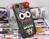 Apple iPhone 4 Case, iPhone 4 Cover, iPhone Case,iPhone Cover,to iPhone Cases 4,iPhone 4s With Bronze Owl Red Flower