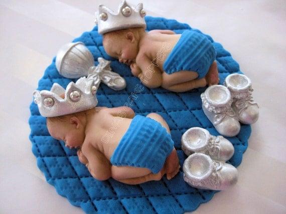 Twins Boy Prince Baby Shower First Birthday FONDANT  BOY Cake Topper Baptism Christening