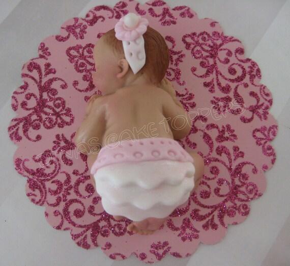 baby shower cake topper pink tutu favors decorations fondant gum paste