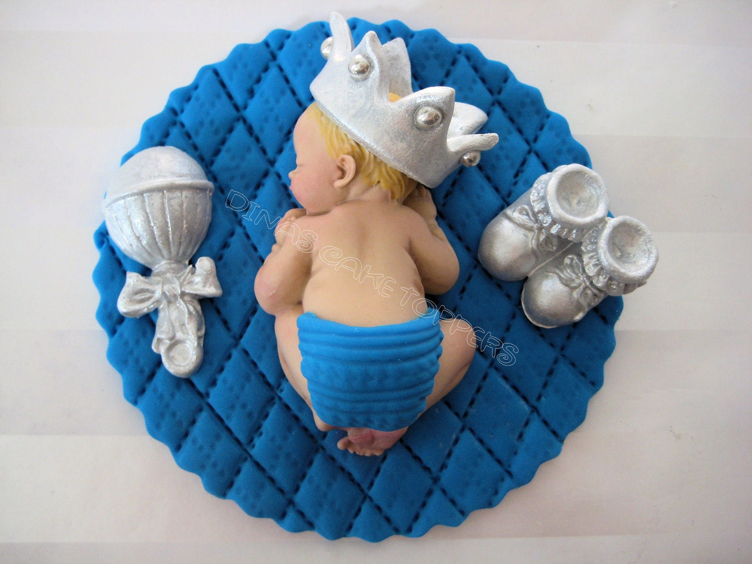 Cake Toppers Baby Boy : Boy Prince Baby Shower First Birthday FONDANT by ...