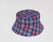 Blue and Red Plaid Baby Sun Hat - Chambray- Reversible - With or Without Chin Strap - Sweet Chicky