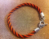 RESERVED - MDGTJULIE ONLY - Orange and Black Bengals inspired Kumihimo bracelet
