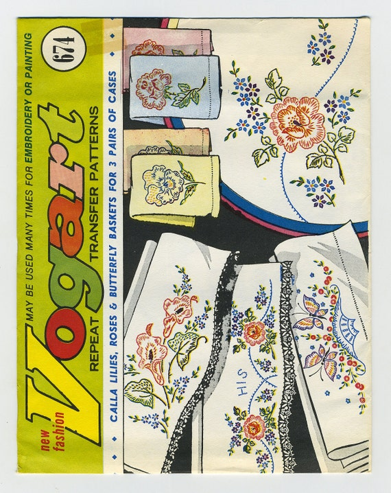 Vintage Vogart 674- Embroidery Or Painting Iron On Transfer Patterns Calla Lilies-Roses-Butterfly Baskets For 3 Pairs Of Cases
