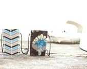 "Rustic woodland floral/chevron style wood pendant 1""x1.5"" on 18"" or 30"" chain.Reversible, hand finished, blue, tan, cream, brown, turquoise."