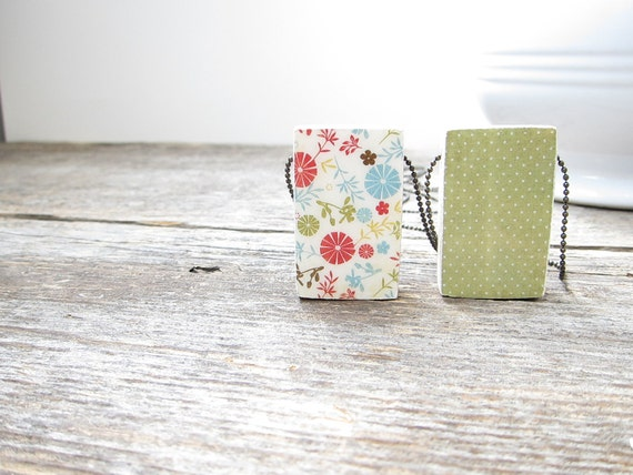 """Rustic, woodland floral/dotted style wood pendant 1"""" x 1.5"""", on 18"""" or 30"""" chain. Reversible, hand finished, red, cream, lime green, blue."""