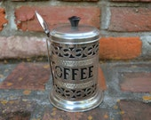 Art Nouveau style vintage coffee container with spoon