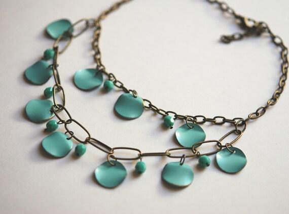 Metal turquoise bohemian petal necklace
