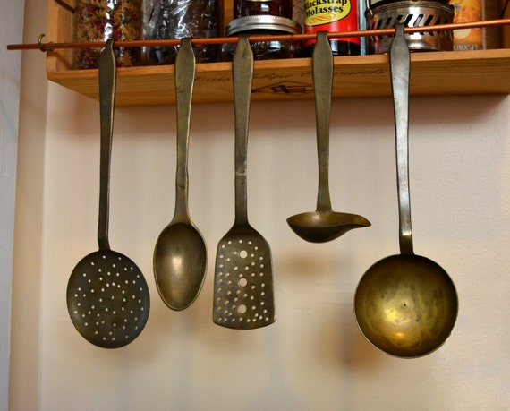 RESERVED-    Vintage solid brass cooking utensils from India