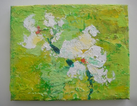 Original textured abstract painting My Green Valley