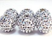12pcs 16MM Silver Resin Rhinestone Beads, DIY, Basketball Wives Earrings