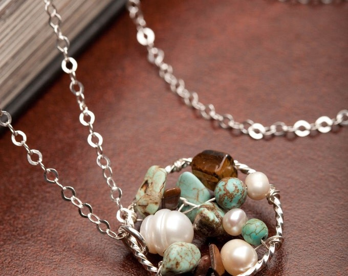 Turquoise, fresh water pearl, eye of tiger necklace