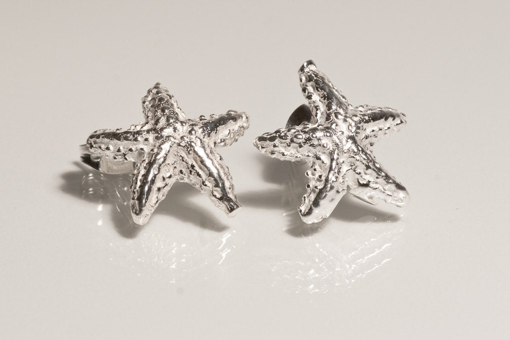 sterling silver starfish studs earrings crafted silver
