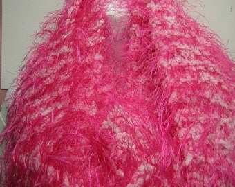 FREE SHIPPING -- Bright and Fun Fuschia and White long Scarf -- OOAK