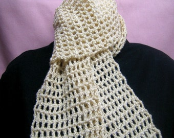 FREE SHIPPING -- Crocheted Gold Glimmer Scarf