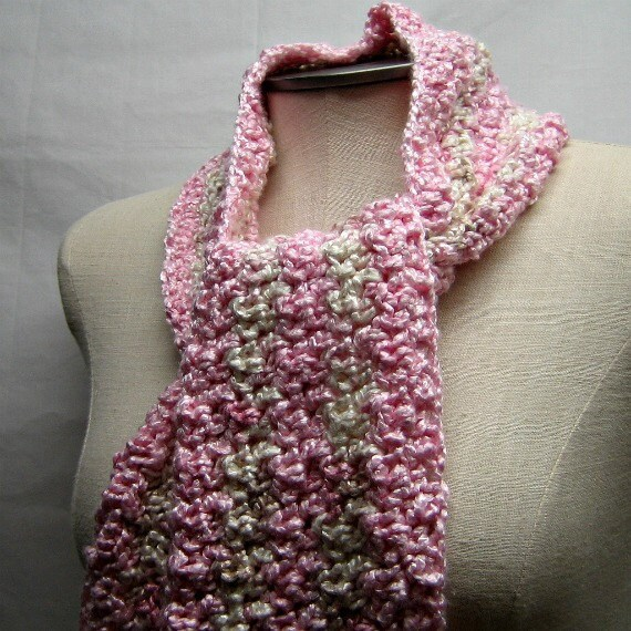 FREE SHIPPING -- Apple Blossom Bamboo Crochet Scarf -- OOAK