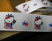 "Hello Kitty Inspired, Fourth of July- Red, White And Blue, Lady Liberty,  Ribbon 7/8"" wide  -5 yards-"
