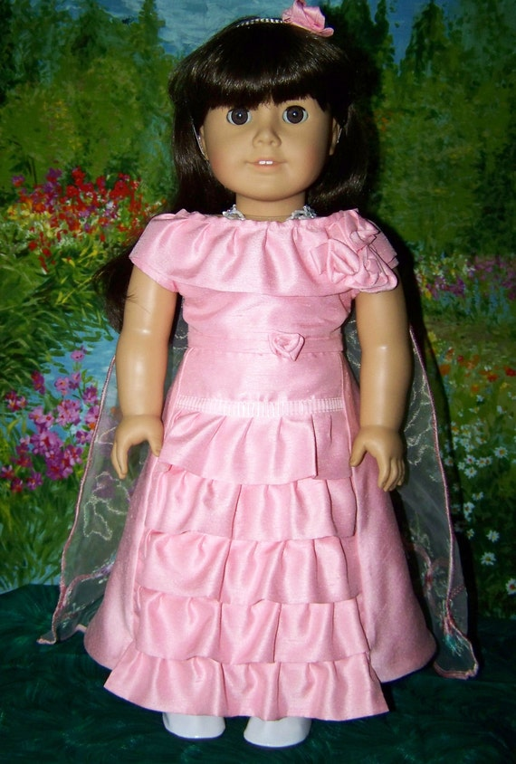 Pink Ruffled Formal Dress with Cape for American Girl Dolls