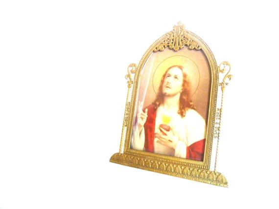 Antique Religious Jesus Picture/ Gold Ornate Metal Frame