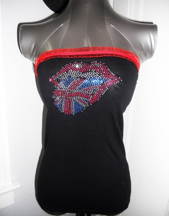 Ladies ROLLING STONES tube top. Size xs/s. Licensed band tee recustomized for a flattering look, great for this years rolling stones tour.