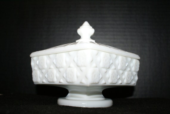 Milk Glass Westmoreland Glass Old Quilt Covered Dish Pedestal Compote