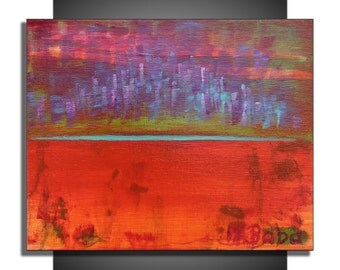 Original Abstract Acrylic Painting Red Purple Turquoise Gallery Wrapped