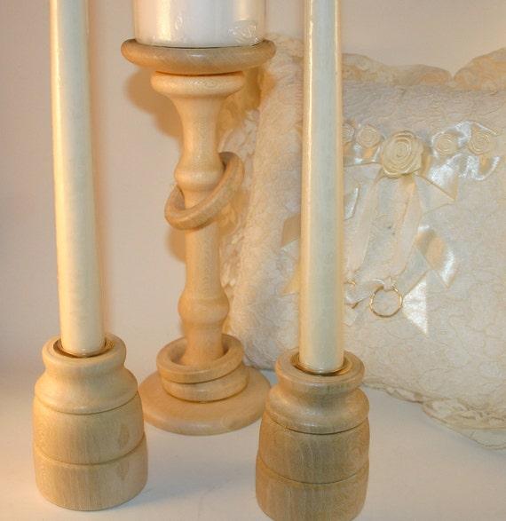 Large Irish Wedding Unity Candle Holders / Pillar Center