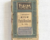Antique German color chalk crayons cardboard box