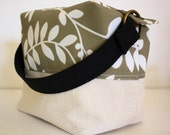 Fully Insulated - Reusable/Eco Friendly - Box Lunch Tote - Natural with Birds on Green