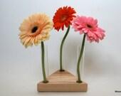 Wooden Bud Vase Home Decor 3 Flowers