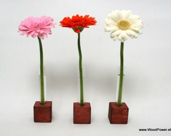 Wooden Bud Vase Home Decor 1 Flower (Red Set of 3)