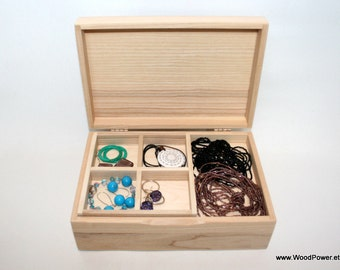 Handcrafted Jewelry Box / Box with Removable Layer / Natural Wood Box / Ash Wood Box