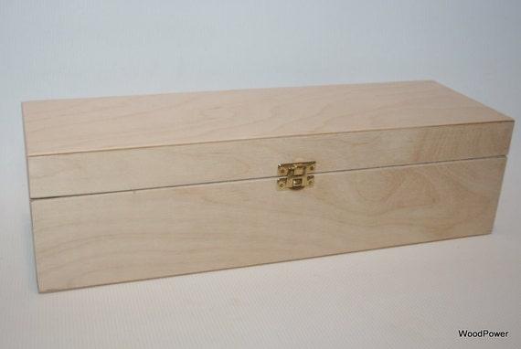 Wooden Wine Bottle Box / Keepsake Box / DIY Project Box / Plywood Box 3.74 x 3.74 x 13.78 inch