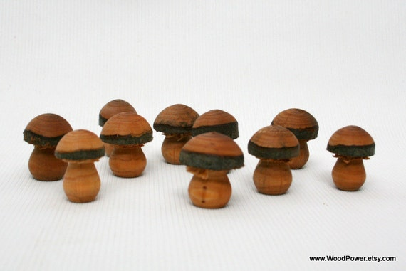 Hand Turned Wooden Mushroom (1 1/3 inch high Set of 10)