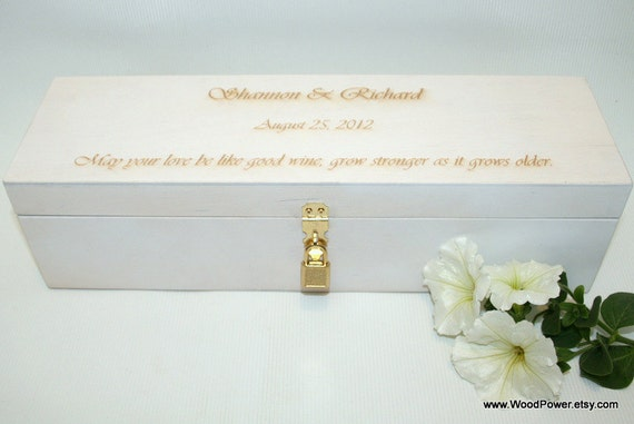 Personalized Wedding Box / White Wooden Wine Box with Padlock 3.74 x 3.74 x 13.78 inch / Personalized Box