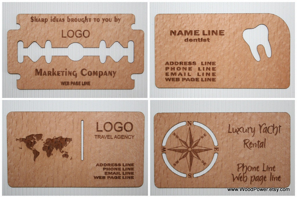 Wooden Business Card / Unique Design / Set of 100 / Custom