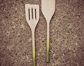 Set of two green ombre wooden spatulas