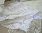 white wedding ultra long white and cream scarf