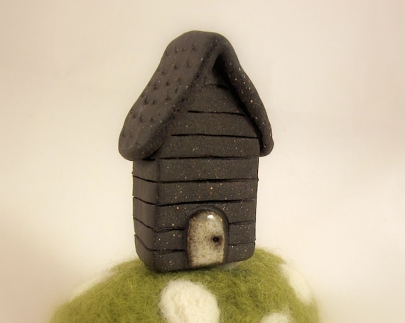Detailed Adoorables No.1 - Hand Molded Little Stoneware House Sculpture - Dark Brown Clay Miniature Pottery Home - White Door